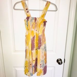 Urban Outfitters Smocked Yellow Chiffon Mini Dress